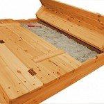 Holz-Sandkasten mit Deckel klappbar, 2 Sitzbänke