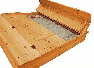 Holz Sandkasten mit Sitzbank zum zuklappen