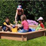 Premium Sandkasten aus Lärchenholz 6-eckig